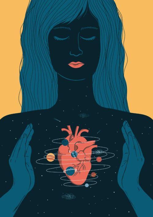 coração cosmos constelação ilustração planetas space galaxy yellow planet star astronomy art design