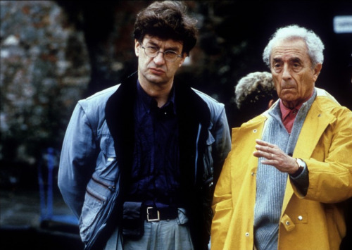 Wim Wenders and Michelangelo Antonioni while filming Beyond the Clouds (1995)