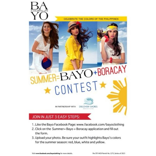 Trip to Boracay? Here's how to win one! Just follow @bayoclothing's mechanics and you might just spend summer there ;)