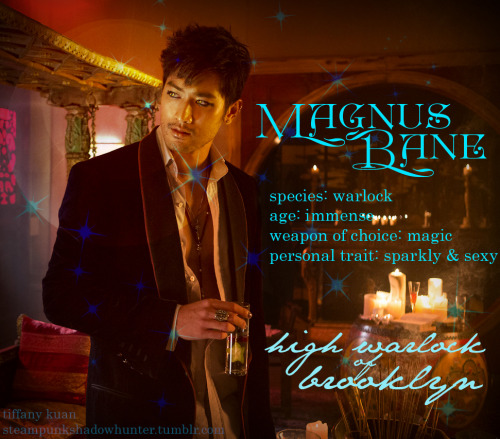 Magnus Bane character profile So hot! Had to do something with the first official picture of MAGNUS! I love Godfrey Gao as Magnus. And his sparkly and sexy traits :) Other characters coming soon. Because I still need to study physics.