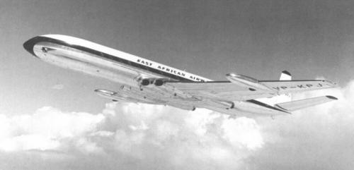 De Havilland Comet 4 (first commercial jet airliner),from an age when flying was still civilised. Love the sleek integration of the jet engines.
