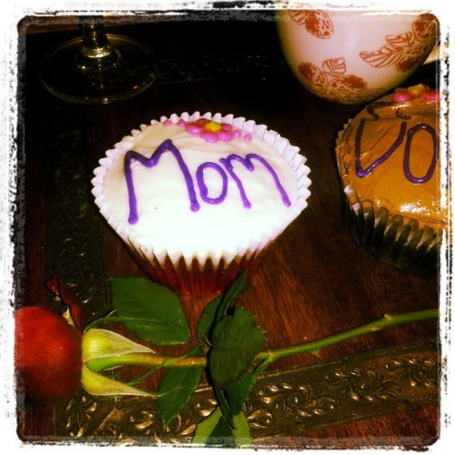 "Mother's Day treat… gluten-free ""Sweet Arleen's"" cupcakes (red velvet and chocolate)"