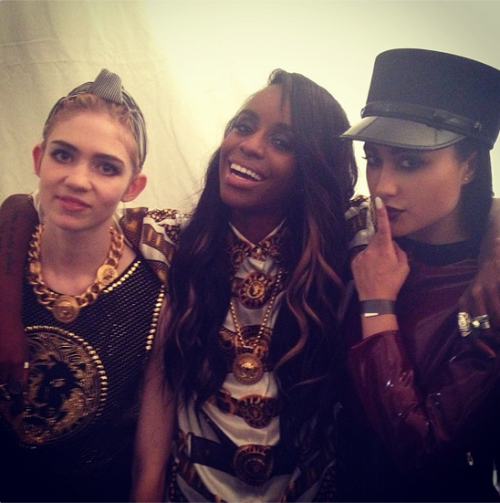 Back stage with bad bitches @Alaskayxxng & Grimes at the Versace party! #TripleTrouble (photo by @jgopez)