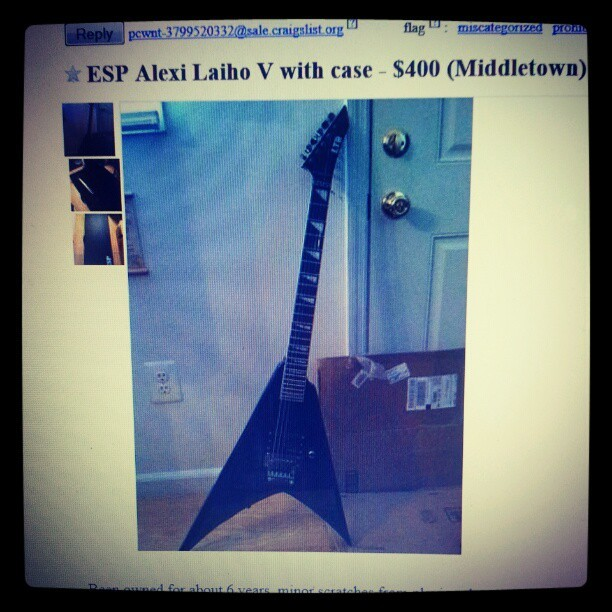ESP Alexi Laiho V with case. $400! Lemme know if you're interested!!! #ESP #alexi #laiho #v #alexilaihov #guitar #guitarforsale #forsale #craigslist #middletown #nj #lmk