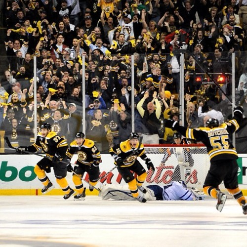 nhlbruins:  The crowd erupts after Patrice Bergeron netted his OT game winner vs TOR #nhlbruins