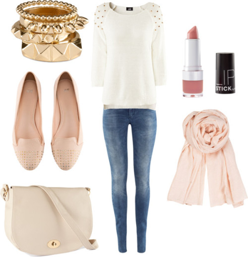 anotheroroneway:  Soft Pink H&M and mix por beleciel con h&m shirtsH&M  shirt, $39 / H&M low jeans, $31 / H&M , $23 / H&M vegan handbag, $23 / H&M  ring, $7.77 / BeckSöndergaard summer scarve, $51 / H&M lip makeup, $6.21