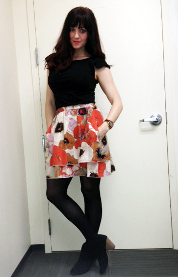 today's horribly photographed outfit post :) shoes- kmart $20-ish tights- prob kmart or walmart under $8 skirt (silk, layered, with pockets)- Anthropologie 4 or 5  years ago (on sale, bday gift to myself) $48.  I really adore this skirt bc it's pretty darn versatile for a floral. Looks good with a plain white tank and strappy sandals as well.  top- Banana Republic, thrifted $3