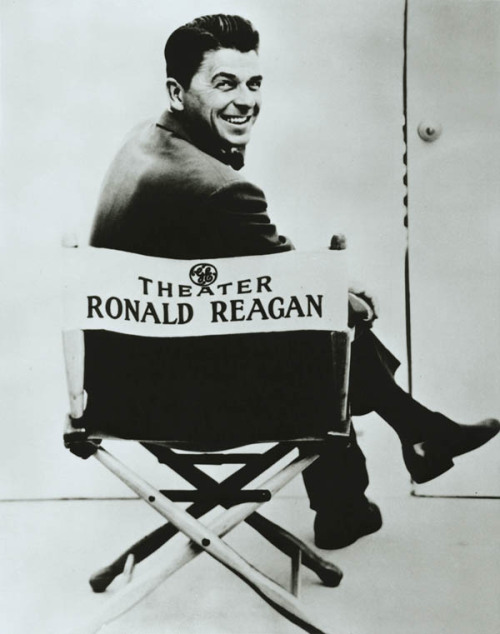 Ronald Reagan on set as the television host for the General Electric Theater. 1954-62.