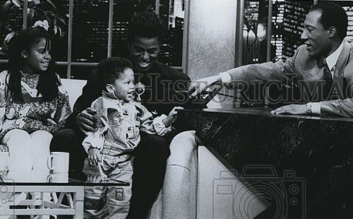 Photo: @jermjackson5 and his daughter Autumn and son Jaimy on the Byron Allen Show.