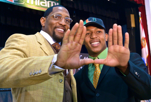 Ray Lewis and his son after committing to UM.