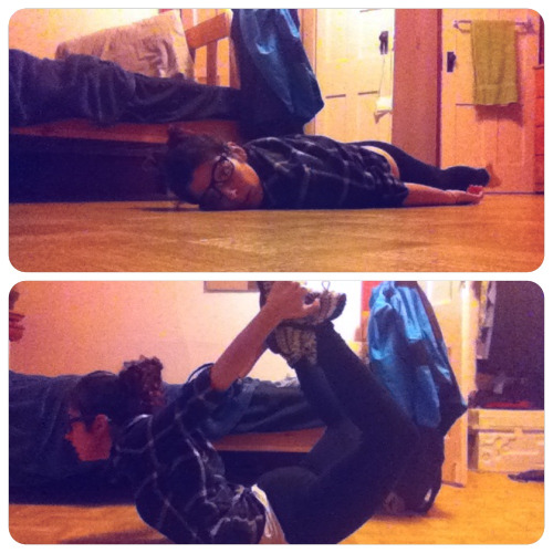 Day 15: bow  Getting so lazy about these yoga pics :P  What song always makes you cry?  The House That Built Me by Miranda Lambert