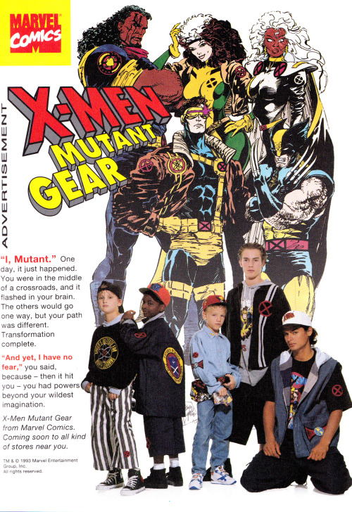 jthenr-comics-vault:  very importantX-Men Mutant Gear Apparel Ad (1994)
