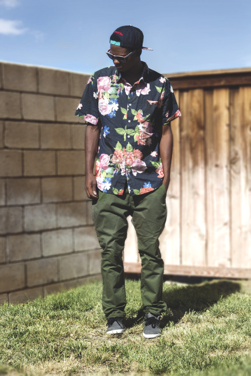 blackfashion:  grizzlies snapback, vans shades, bullhead chino pants, vans shoes, modern amusement floral shirt. Donavan Johnson, 21, Victorville CA submitted by Donavan Johnson Photographed by Donavan Johnson Photographs