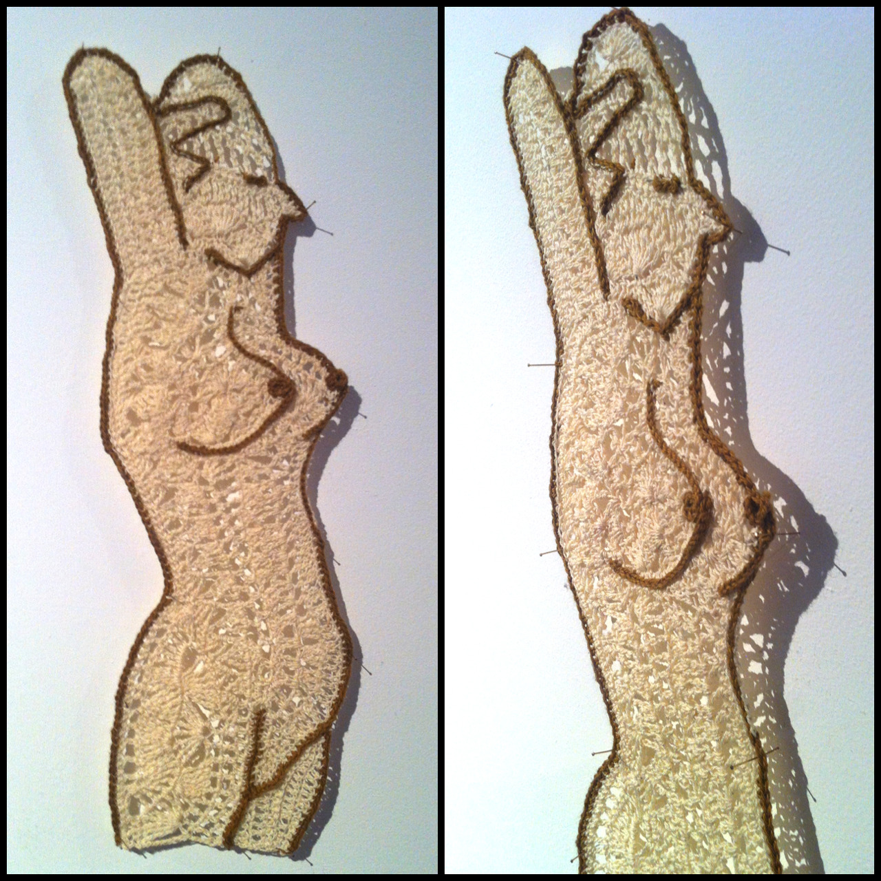 Crochet nude 1. (and detail) My piece in the 'entry' exhibition on now at Brunswick art space, 2 little Breeze st. Brunswick