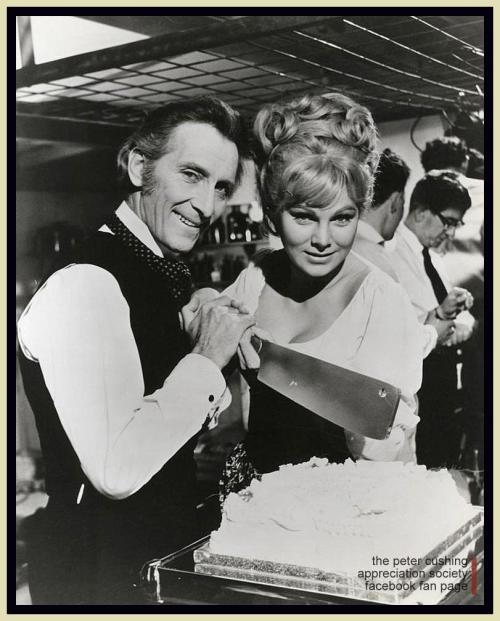 popgothic:  Peter Cushing and Susan Denberg cleave the cake on the set of Frankenstein Created Woman.