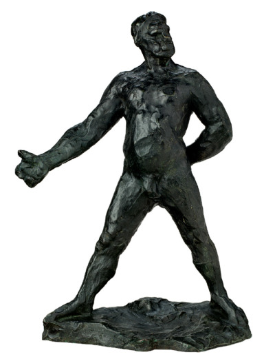"Auguste Rodin, Balzac, étude type A. - ""According to his reminiscences: ""[Rodin] told me that the Balzac was cast from his original sketch for the statue, but the government officials had decided that Balzac was too naked for the nursemaids and children who frequented the gardens and it was refused. He then made the figure that was accepted by simply throwing a dressing-gown about Balzac so that nothing now shows of him, or rather is uncovered, but his head. Mine was the only bronze that he made from this sketch, he told me… He placed a low valuation on the bronze as he seemed to be thoroughly disgusted with the prudery of the officials"" — A. Gallatin, The Pursuit of Happiness, The Abstract and Brief Chronicles of theTime, New York, 1950, pp. 27-28"