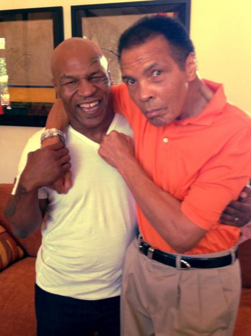 home-of-hip-hop:  killafornia-life:  Mike Tyson x Muhammad Ali   I fucking love this photo, made me smile.