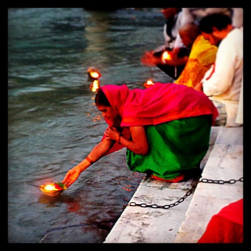 Gangas Aarti at dusk (sunset puja ceremony praising god with chanting and blessings along the sacred waters of the Ganges River) - Rishikesh, India (at The World Peace Stupa)