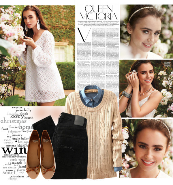 Lily Collins by mafalda98 featuring printed sweaters ❤ liked on Polyvore