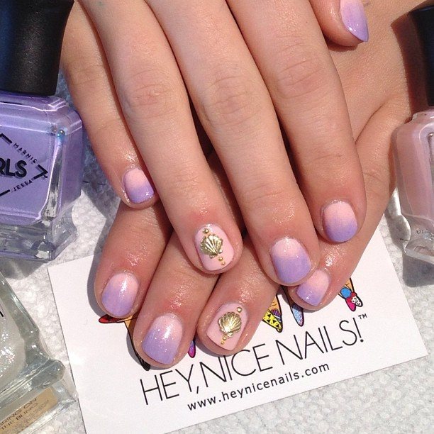 heynicenails:  @deborahlippmann ombre mani using #Marnie #Shoshanna and #BringOnTheBling #nailart for our 13 year old cuz @soccerstar110024  (at Hey, Nice Nails!)  Nail Art