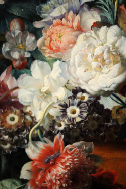c0ssette:  Jan van Huysum, Vase of Flowers, 1722. (Detail)