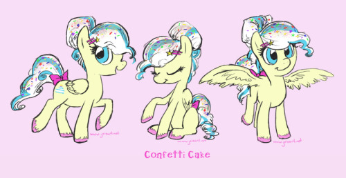 Since tomorrow is my birthday, I thought I'd design a birthday cake pony! Meet Confetti Cake, birthday party extraordinaire! She has sprinkles in her hair and can make some mean pastries. And yes, she has collaborated with Pinkie Pie before. :3Done in my Livestream in about a 1 hour and 15 minutes.