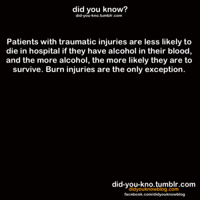 did-you-kno:  Source  so if i were to get badly hurt give me booze please.