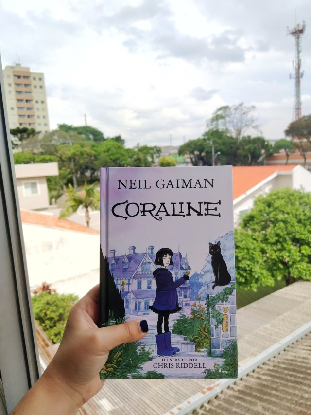 Coraline by Neil Gaiman with a view with buildings and houses