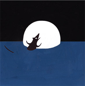 A rat bathing with the moon. Inspired by Tales of the Riverbank title: The Night the Moon Came Down to Bathe
