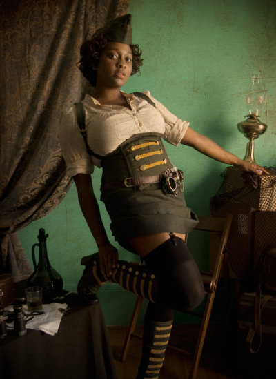 fantasyofcolor:  Steampunk - Pin-up 1 by ~blackbettie