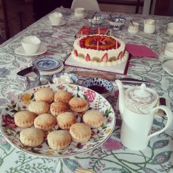 Scones, cake and tea party at boss', very british #scones #cake #tea #british
