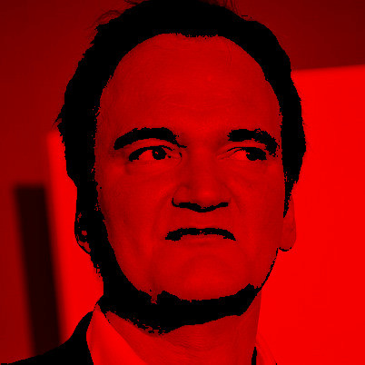 Quentin Tarantino in red