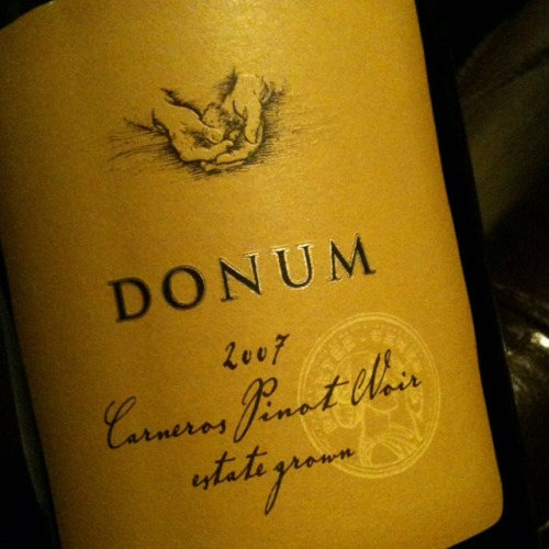 Hi, check out this wine. The surprise of the night.   Name:	Donum Estate Pinot Noir Carneros Vineyard:	The Donum Estate Winery Vintage:	2007 Varietals:	Pinot Noir Price:	$56.99 Type:	Red Country:	USA Region:	California > Napa > Carneros  My Rating:	5 - Very Good My Notes:	Black Cherries, blackberries, more dark fruit than red. More body and flavor than your typical Carneros Pinot Noir. I very pleasant surprise! Location:	10 Winos Date:	Jan 15, 2013 Cheers!  If you dont have Wine Snob on your phone you can download it here.       Rodney Patches
