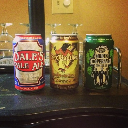 Going through a canned beer phase. So good! #craftbeer #cans #dales #sexpanther #modushoperandi #santan #oskarblues #ska