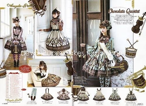 girlyhoot:  Chocolate Quartet Collection - new chocolate print from Angelic Pretty!