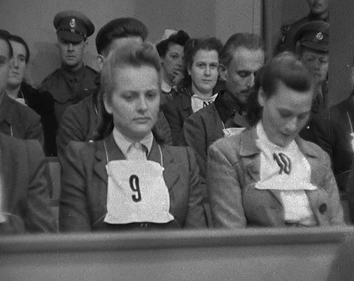dichotomized:  Defendant number 9, Irma Grese, dubbed the Beast of Belsen was convicted for crimes against humanity at the Belsen Trial and sentenced to death. She had been employed at various Nazi concentration camps including Auschwitz and Belsen. At her trial survivors provided detailed testimony of murders, tortures, and other brutal behaviour towards prisoners, especially women. She was 22 years old when she was executed.