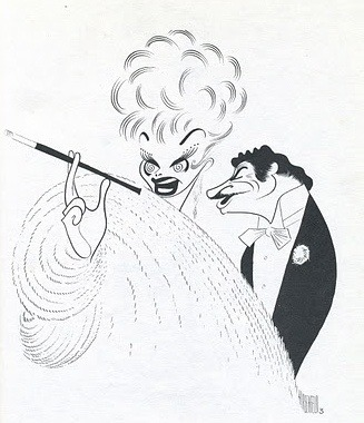 "guyfarris:  AL HIRSCHFELD DRAWING OF LUCILLE BALL AND ROBERT PRESTON IN THE 1974 MOVIE MUSICAL ""MAME"""
