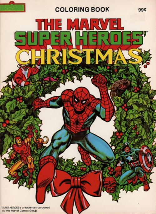 Vintage Marvel Superheroes Christmas Coloring Book. What the hell is Rhino doing here. Still, I would very much like one of these in my stocking this year.