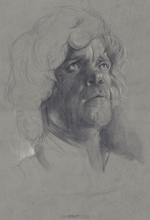 Peter Dinklage sketch - by Sam Spratt I'm working on an illustration that will likely take upwards of 100 hours to finish, but in the meantime, I'm determined to take breaks and do some smaller sketches like this. On a related note, this cello cover of the Game of Thrones opening theme song is awesome if you haven't heard it.