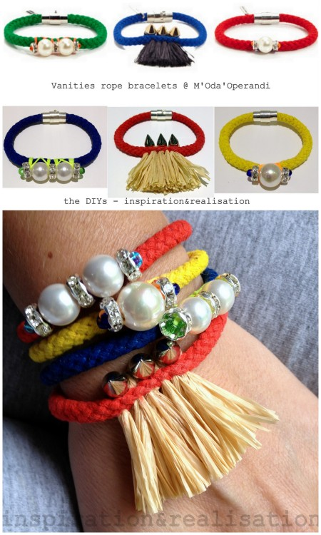 DIY Knockoff M'Oda 'Operandi Vanities Bracelets Tutorials from inspiration & realisation here. Amazing knockoffs and tutorials in one post with lots of photos/instructions and links for materials, Some of the tutorials include dyeing clothing line/rope, wrapping floss in X patterns around pearls and rhinestones, combining raffia and spikes and more. Top Photo: $100-$105 M'Oda 'Operandi Vanities Bracelets here. All Other Photos: DIY by inspiration & realisation.