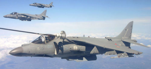 Harriers in Non-US/UK Service…Image #1 A formation of three Italian Marina Militare AV-8B carrier fighter-bombers with the nearest to camera undergoing in-flight refuelling