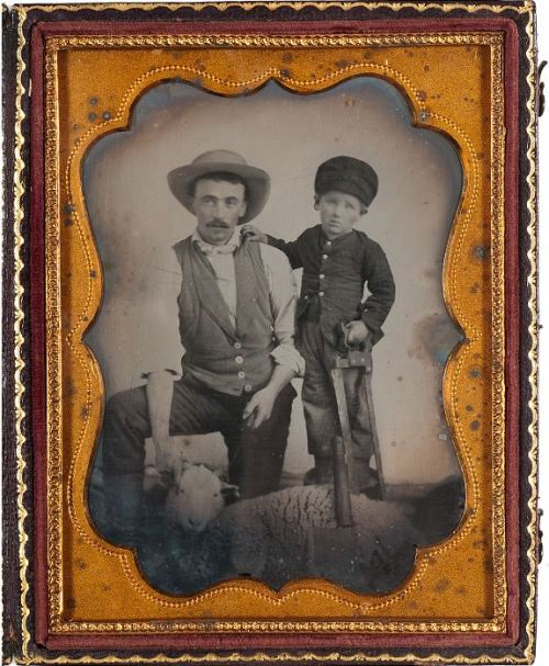ca. 1860-70's, [ambrotype portrait of a butcher and his son, preparing to slaughter a sheep] via Cowan's Auctions