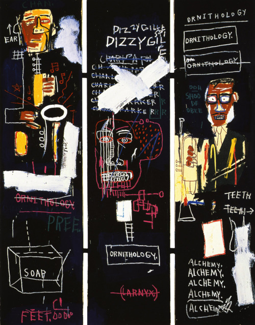 filthavenue:  Horn Players. 1983 Jean-Michel Basquiat   One day I'll buy a dope piece by JMB !!