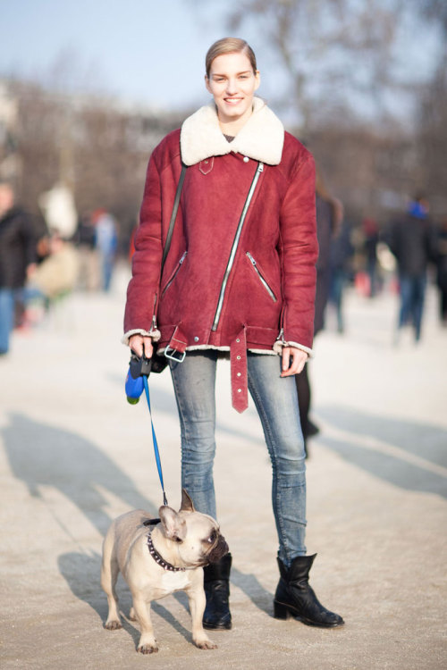 Dutch Model Marique Schimmel (Supreme NY, Women Paris) after Valentino FW13 in March 2013, Paris at the Tuileries. With her dog Colombo! Wearing Acne I believe. Part of my models.com street style coverage. Click below to view. modelsdot:  On the Street (Paris) / FW 13 - Of The Minute :Marique Schimmel