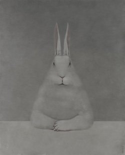 darksilenceinsuburbia:  Shao Fan. Rabbit at Desk, 2012. Oil on canvas, 210 x 170 cm.