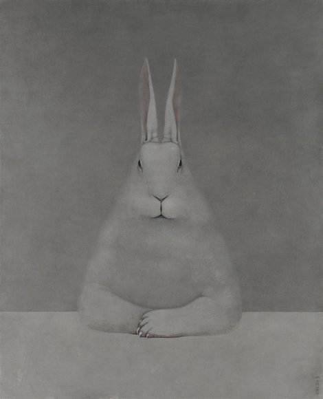 frenchtwist:  via darksilenceinsuburbia:  Shao Fan. Rabbit at Desk, 2012. Oil on canvas, 210 x 170 cm.