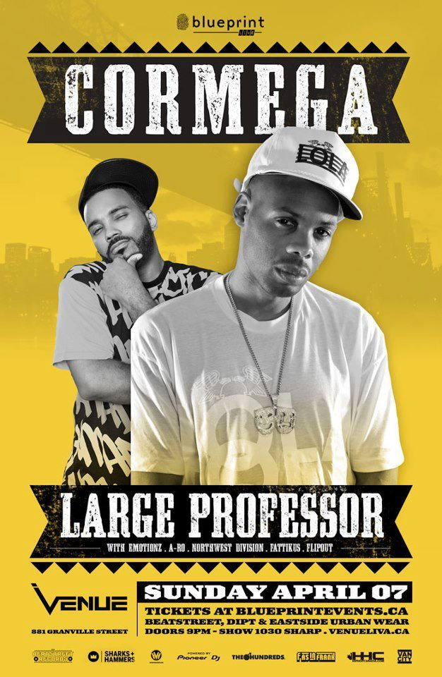 APRIL 7: Large Professor & Cormega LIVE @ VENUE  w/ A-Ro, Emotionz, Northwest Division, Fattikus & DJ Flipout