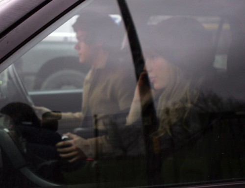 Harry driving Taylor to the Manchester Airport, 12.14.12