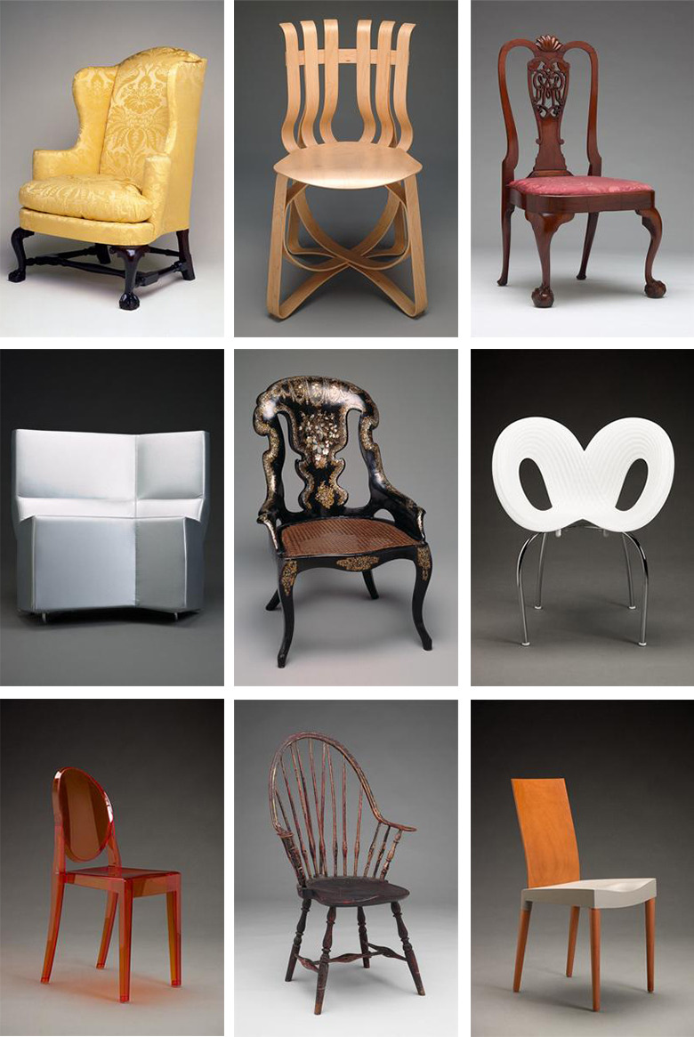 Typology of chairs. Collections of: Indianapolis Museum of Art, Dallas Museum of Art, and the Yale University Art Gallery. Compiled via the Digital Public Library of America.