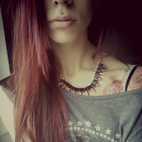 I'm bored ._. #loumavis #lou #mavis #lips #redhair #redhead #tattoo #ink #roses #piercings #nostril #medusa #likeforlike